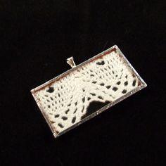 EcoFriendly White Vintage Lace Pendant Encased by SalvagedJewelry, $12.00