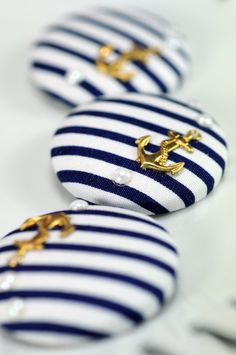Blue White Anchor Buttons Nautical Sailor
