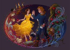 Belle and Prince Adam with the Enchanted objects from Beauty and the Beast Walt Disney, Disney Couples, Disney Magic, Disney And More, Disney Love, Disney Stuff, Comic Collage, Beauty And The Beast Art, Belle And Adam