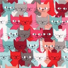 colorful packed 'Cats' animals fabric by Andover USA 1