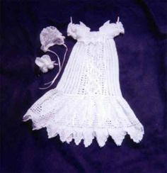 Beaded Diamond Delight Christening Gown Booties Bonnet Crochet Pattern | eBay