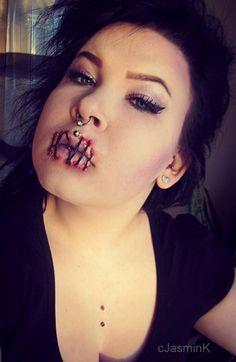 sewn mouth makeup