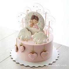Sweet cake design for a little girl Buttercream Cake, Fondant Cakes, Cupcake Cakes, Baby Girl Cakes, Baby Birthday Cakes, Dream Cake, Cake Decorating Tutorials, Drip Cakes, Cute Cakes
