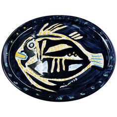 Large Pablo Picasso Platter in Art Pottery Decorated with a Fish | From a unique collection of antique and modern ceramics at http://www.1stdibs.com/furniture/dining-entertaining/ceramics/