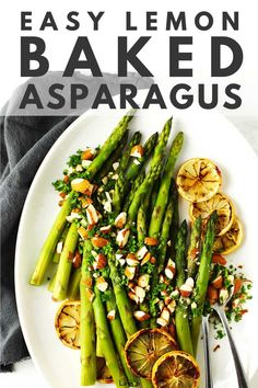 This simple baked asparagus recipe is a quick and healthy side dish to add to any meal. Top with a squeeze of lemon, chopped nuts or fresh herbs to add a little va-va-voom. Healthy Sides, Healthy Side Dishes, Vegetable Side Dishes, Side Dish Recipes, Dishes Recipes, Baked Asparagus, How To Cook Asparagus, Asparagus Recipe, Healthy Vegetable Recipes