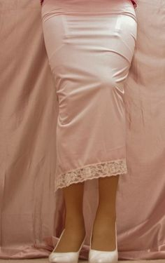 Visible Garter Bumps Under Long White Half Slip Sheer Black Back Seam Stockings and White High Heels