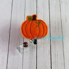 Pumpkin Feltie Retractable Badge Reel, Felt Badge Reel, ID Badge Reel Holder, Name Badge Holder, Lanyard, Teachers Badge Holder Reel - pinned by pin4etsy.com