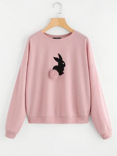 SheIn offers Pom Pom Ball Applique Rabbit Print Pullover & more to fit your fashionable needs. Trendy Hoodies, Hoodie Sweatshirts, Girls Fashion Clothes, Teen Fashion Outfits, Stylish Dress Designs, Stylish Dresses, Cute Casual Outfits, Stylish Outfits, Sweatshirt Outfit