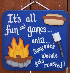 Wood Outdoor Camping Sign  Weenie Roasted