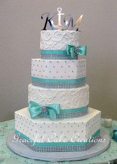 Elegant Mixed Shape White Butter Cream Wedding Cake with Tiffany Blue Ribbon and Silver Rhinestones