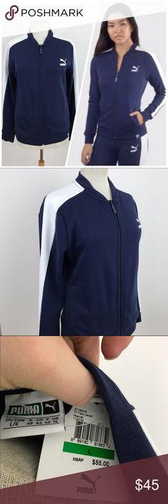 NWT Women's Puma Zip Up Track Jacket **AVAILABLE FOR A LIMITED TIME ONLY**  Classic Puma zip up active jacket ! Dark blue with white color block sleeves.  Size large, measurements to come...  #puma #trackjacket #sizelarge #rachelboncek Puma Jackets & Coats
