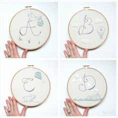 Hey, I found this really awesome Etsy listing at https://www.etsy.com/listing/166987816/alphabet-nursery-art-embroidery-hoop-set