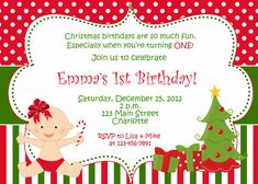 First birthday Christmas party invitation