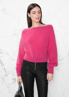 & Other Stories image 2 of Knit Off-Shoulder Sweater in Pink