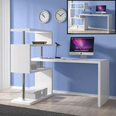 Miami Computer Desk Rotating In White Gloss With Shelving Unit - Buy Modern Computer Desk, Furniture In Fashion Home Office Shelves, Bookshelf Desk, Home Desk, Hallway Furniture, Home Office Furniture, Furniture Nyc, Furniture Plans, White Desk Bedroom, Modern Corner Desk