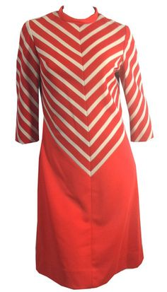 Chevron Chic Red and White Mod Dress circa 1960s - Dorothea's Closet Vintage