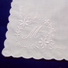 Monogram Initial Letter Embroidered White Cotton Wedding Handkerchief for Bride Bridesmaid birthday xmas new year gift by Mamahanky on Etsy