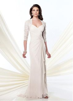 e0c13332d69 Glamorous Tulle   Chiffon Sheath Queen Anne Neckline Full-length Mother of the  Bride Dress