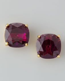 Small Square Stud Earrings, Amethyst