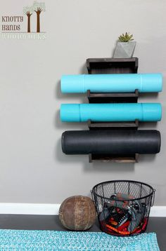 Custom Made Wood Yoga Mat Rack / Holder.