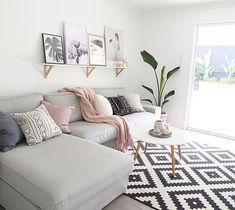 Use these gorgeous modern living room ideas, even if you have a small living room or lounge, as a starting point for your living room design decorating project. Small Living Rooms, Living Room Modern, Home Living Room, Blush And Grey Living Room, Living Area, Cozy Living, Living Room Decor Small Apartment, Apartment Space Saving, Living Room Decor Simple