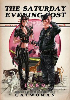 Les personnages DC Comics transposés dans l'univers du célèbre Saturday Evening Post dans de superbes illustrations