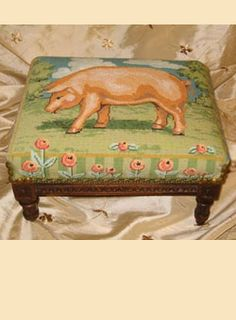 Finished Gallery - Labors of Love Needlepoint Needlepoint Stitches, Needlepoint Canvases, Needlework, Unusual Furniture, Hand Painted Canvas, Fabric Bags, Little Pigs, Fiber Art, Cross Stitch