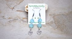 Genuine Aquamarine earrings, fresh water pearl earrings, hill tribe silver earrings, blue earrings, aquamarine earrings, march birthstone by KarmaKittyJewelry on Etsy
