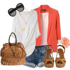 Coral blazer and shorts