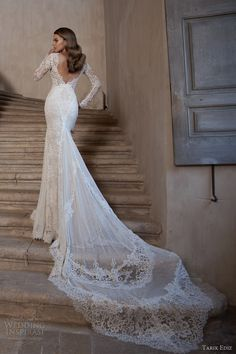 tarik ediz bridal 2015 pirlanta long sleeve wedding dress lace open back view train zoom