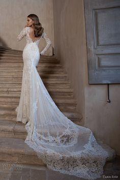 tarik ediz bridal 2015 pirlanta long sleeve wedding dress lace open back view train zoom