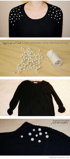 DIY: Pearl Embellished Shoulders