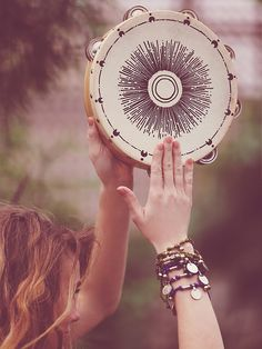 Free People Hand Painted Tambourine at Free People Clothing Boutique