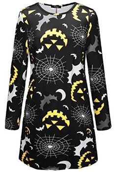 e2a5e0220bcc DressUWomen Floral Print O-Neck Halloween Long-Sleeve Pullover Midi Dress  Pattern2 S Best