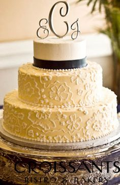 Floral Piped Lace Wedding Cake Myrtle Beach, SC