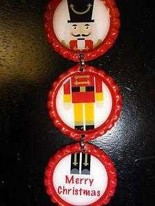 Bottle Cap Christmas Ornament: Nutcracker RED bottle caps *unique* NEW