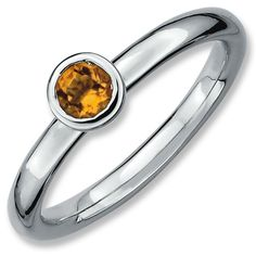 Sterling Silver Stackable Expressions Low 4mm Round Citrine Ring