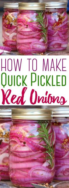 For Fish Tacos. Learn how to make the best quick-pickled red onions, with a flavorful brine that can be easily adapted to suit your taste! These pickled red onions compliment any meal! Quick Pickled Red Onions, Best Pickled Red Onion Recipe, Pickled Veggies Recipe, Quick Pickled Vegetables, Pickled Garlic, Pickled Radishes, Picked Red Onions, Pickle Onions Recipe, Pickle Pickle