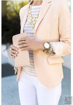 17. #White Pants & #Pastel Blazer - 30 #Office-Ready Outfits for #Summer ... → #Fashion #Animal