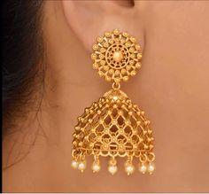 Gold Jhumka Earrings, Gold Bridal Earrings, Jewelry Design Earrings, Gold Earrings Designs, Designer Earrings, Necklace Designs, Fancy Earrings, Ruby Earrings, Tassel Earrings
