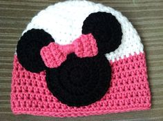 Crochet Minnie Mouse Inspired Beanie by JazzyCraftyCreations,: