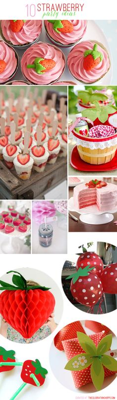 Host a lovely strawberry party with these 10 simple and creative ideas! For more party ideas, visit Kim Byers at The Celebration Shoppe! First Birthday Parties, Birthday Party Themes, Girl Birthday, First Birthdays, Birthday Ideas, Birthday Themes For Girls, Fete Emma, Strawberry Shortcake Birthday, Party Fiesta