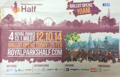 Charity ad calling for participants in the Royal Parks Foundation Half Marathon in partnership with Cancer Research UK, Mind, Great Ormond Street and Tommy's. #royalparks #charity #ad