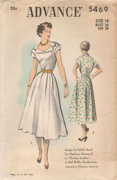 """Advance 5469; ca. 1950; Design by Edith Head for Barbara Stanwyck in """"Thelma Jordan"""", A Hal Wallis Production (note: movie released in 1950). View 1, dress with purchased belt. View 2, dress with contrasting collar and cuffs, self belt. Add a photo to the gallery by clicking the """"modify"""" button below."""