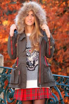 Hooded Parka & Tartan Skirt Outfit. Follow this link to see all the pics in my blog. http://www.bymedidri.com/2013/11/hooded-parka-tartan-skirt.html