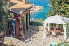 Villa with amazing sea view in Agios Nikitas Village. Island Life, Villas, Islands, Gazebo, Greece, Outdoor Structures, Sea, Wallpaper, Amazing