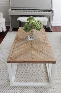 Modern Farmhouse Herringbone Coffee Table - I'd want to change the legs.I love the top! tables ideas diy Modern Farmhouse Herringbone Coffee Table - Shades of Blue Interiors Rustic Coffee Tables, Cool Coffee Tables, Coffee Table Design, Coffee Table Plans, Coffee Table On Rug, Redone Coffee Table, Coffee Table Blueprints, Coffee Table Top Ideas, Beachy Coffee Table