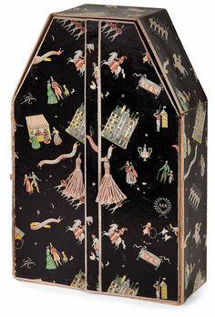Dagobert pêche / Dagobert pêche (1887-1923) coffret à bijoux et à rubans, formant petite armoire rectangulaire à fron