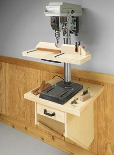 WallMounted Drill Press Table Woodsmith Plans by Brandon Card Workshop Storage, Workshop Organization, Home Workshop, Garage Workshop, Workshop Ideas, Woodworking Workshop, Woodworking Crafts, Woodworking Projects, Popular Woodworking