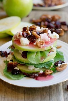 Apple, Goat Cheese and Cranberry Salad. Sounds delicious and looks beautiful! : Apple, Goat Cheese and Cranberry Salad. Sounds delicious and looks beautiful! Cranberry Salad, Cranberry Cheese, Vegetarian Recipes, Cooking Recipes, Healthy Recipes, Good Food, Yummy Food, Tasty, Fingers Food